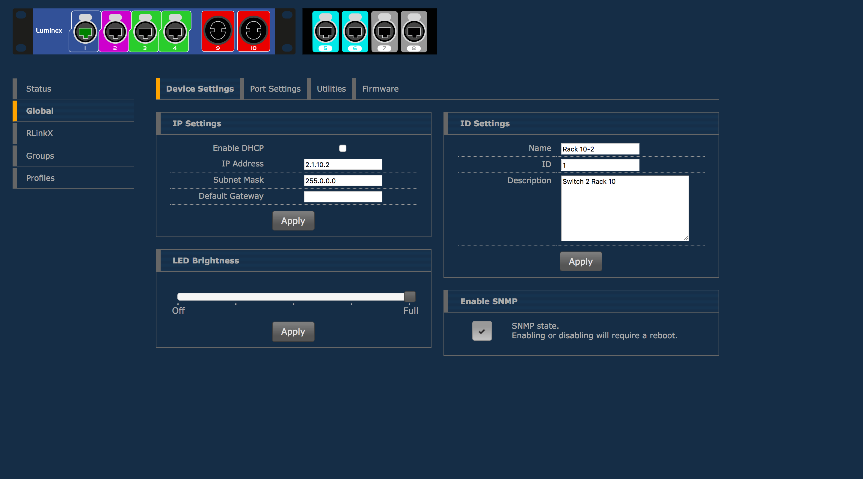 GigaCore 10 web interface - device settings