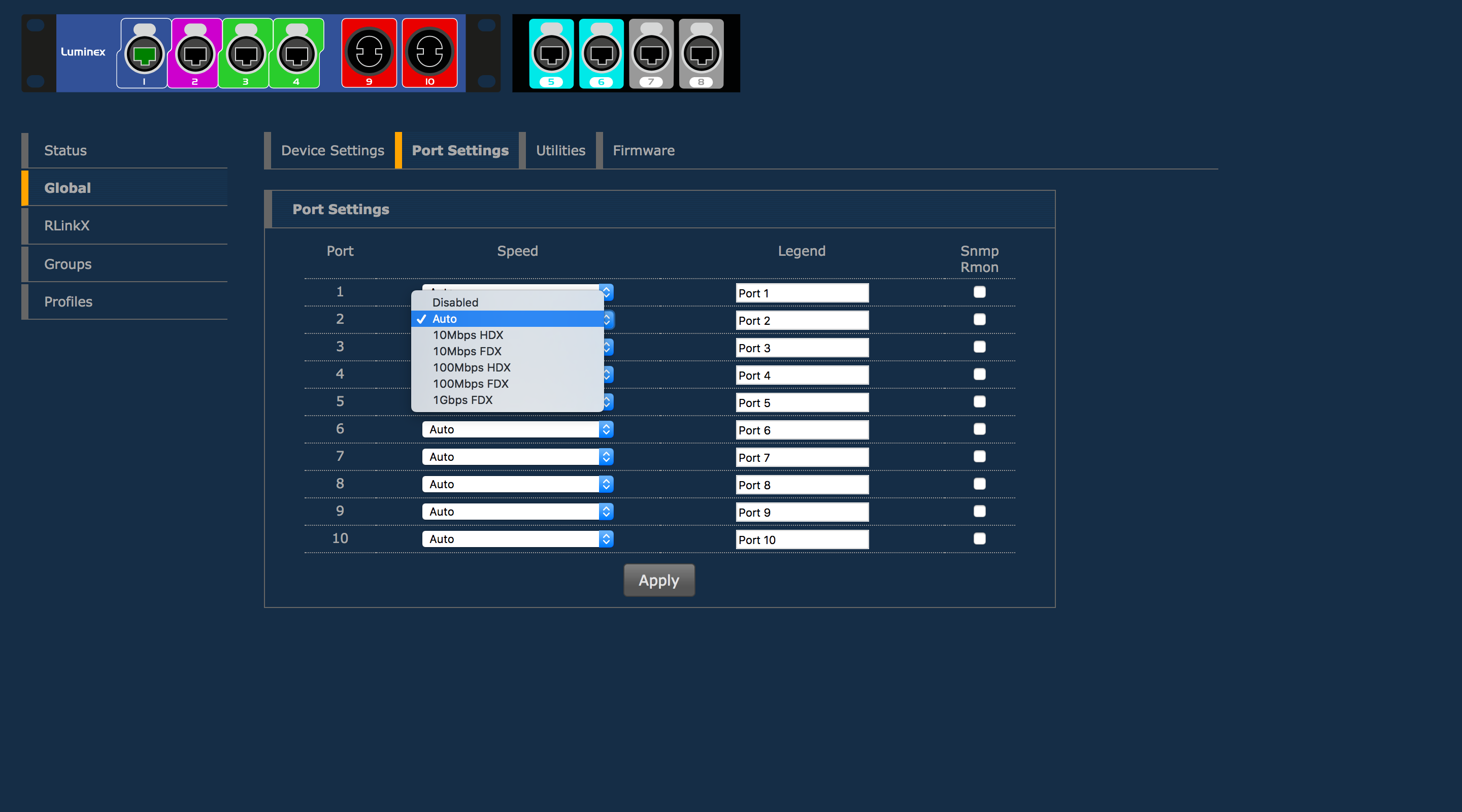 GigaCore 10 web interface - port settings