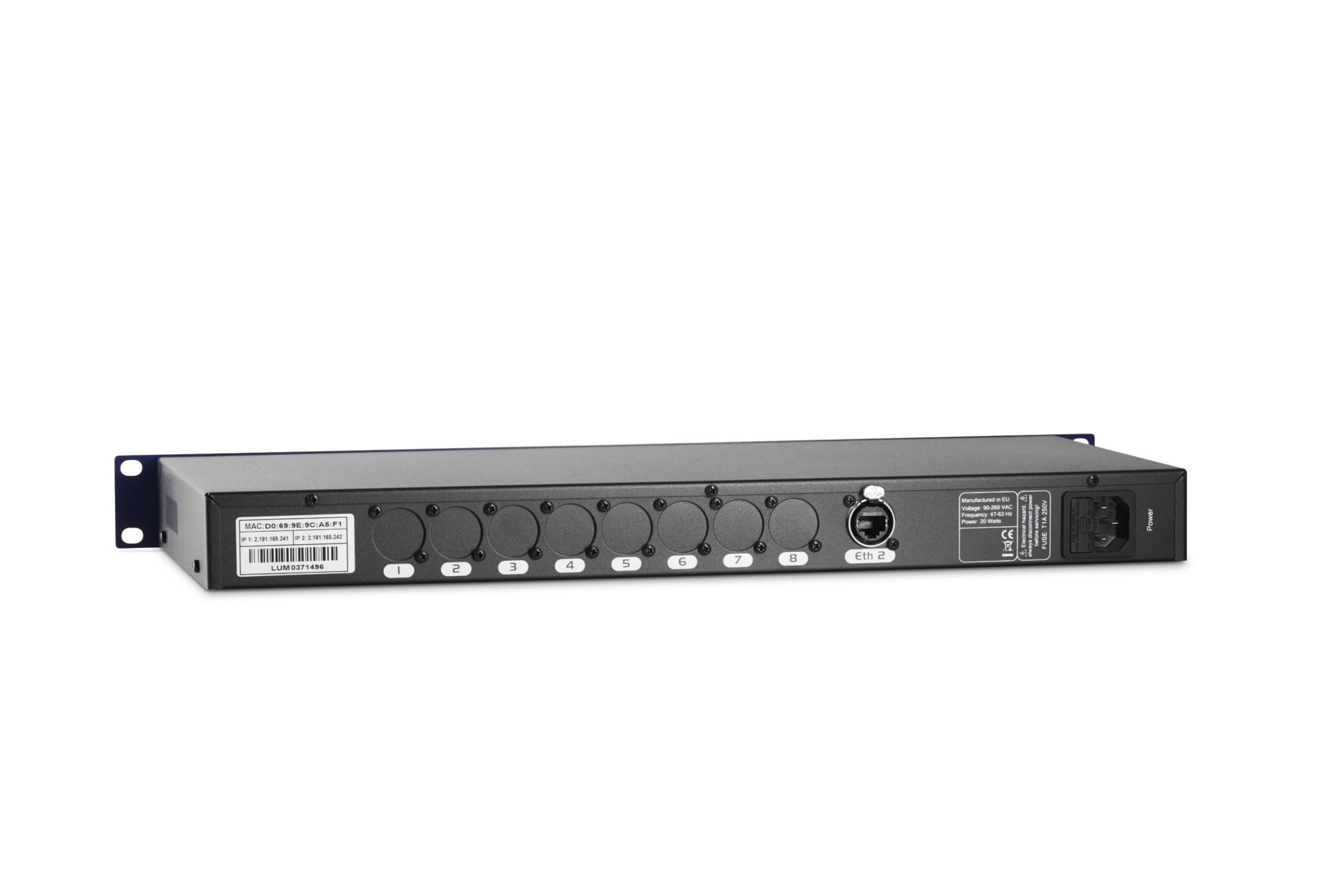 Dmx8 Luminex 4 Way Ethernet Switch Mkii Back